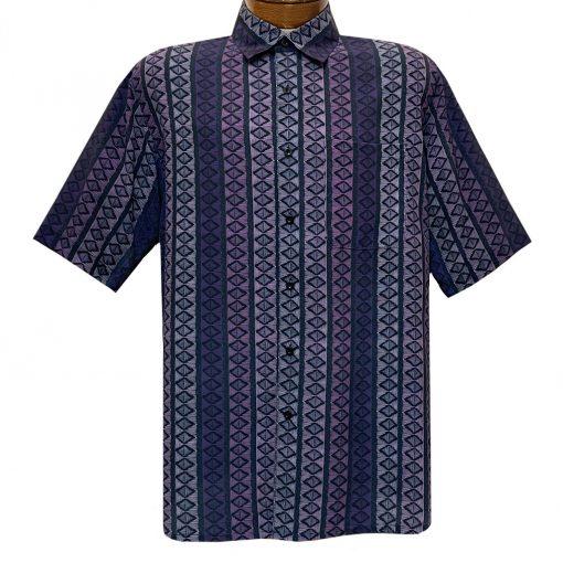 Men's Bassiri Short Sleeve Button Front Sport Shirt With A Chest Pocket #63571 Blue Multi