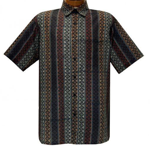 Men's Bassiri Short Sleeve Button Front Sport Shirt With A Chest Pocket #63591 Khaki Multi