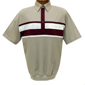 Men's Classics By Palmland Short Sleeve Horizontal Pieced Knit Banded Bottom Shirt #6010-BL12 Taupe (M & XXL, ONLY!)