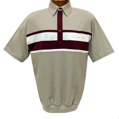 Men's Classics By Palmland Short Sleeve Horizontal Pieced Knit Banded Bottom Shirt #6010-BL12 Taupe
