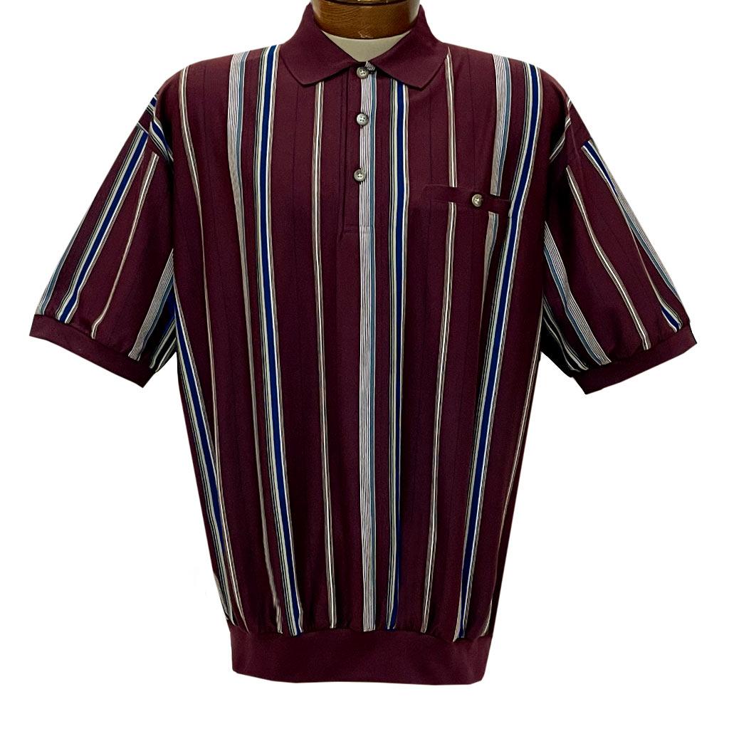 Men's Classics By Palmland Short Sleeve Vertical Stripe Knit Banded Bottom Shirt #6090-V1 Burgundy