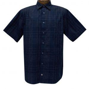 Men's F/X Fusion Short Sleeve Fine Line Grid Button Front Sport Shirt #D1425 Navy (L & XL, ONLY!)