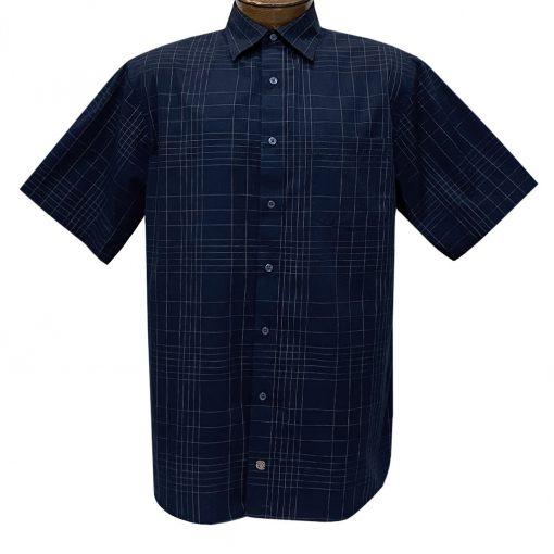 Men's F/X Fusion Short Sleeve Fine Line Grid Button Front Sport Shirt #D1425 Navy