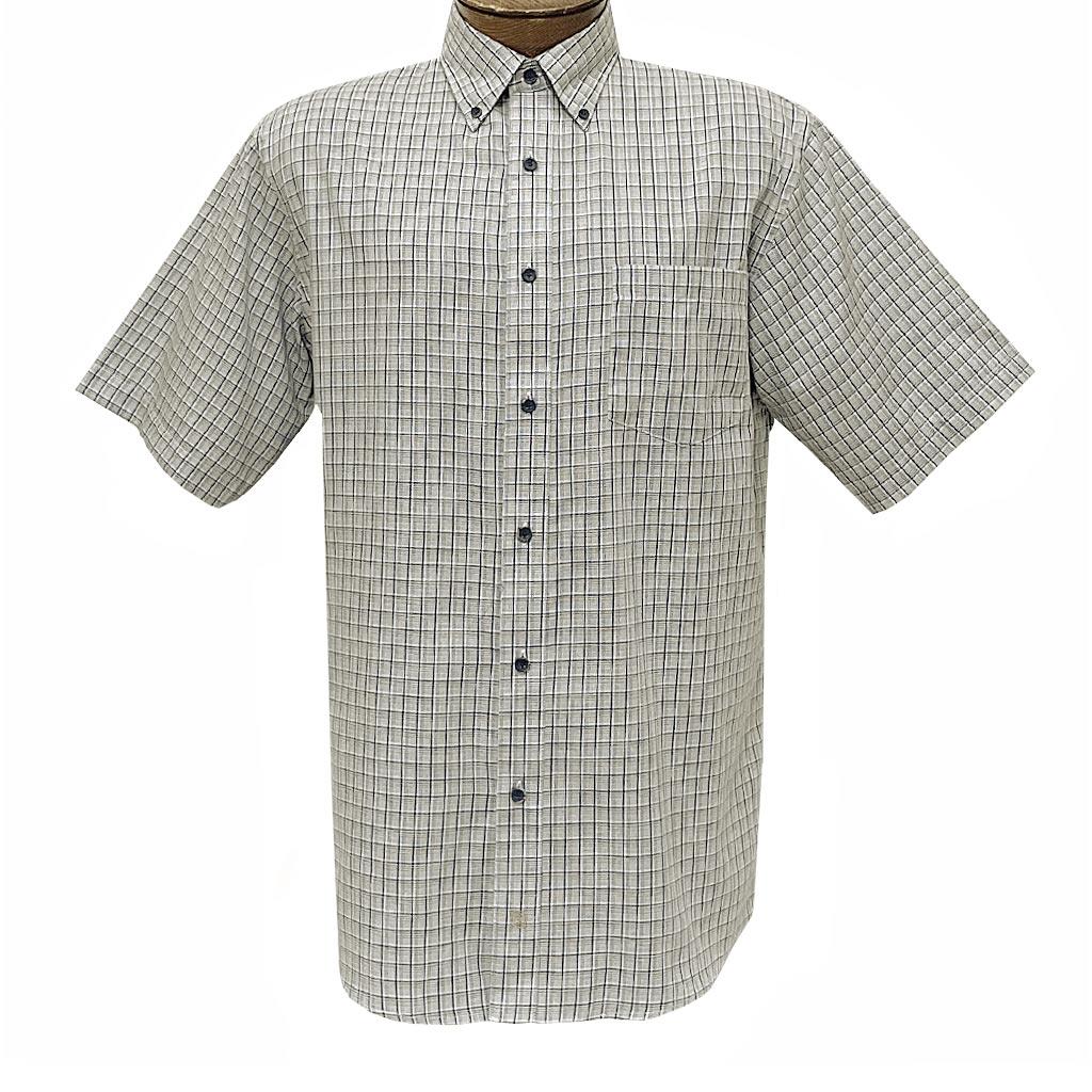 Men's F/X Fusion Short Sleeve Textured Check Button Front Sport Shirt #D1422 Tan/Navy