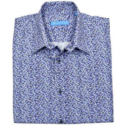 Men's Justin Harvey Short Sleeve Classic Fit Super Soft Cotton Sport Shirt, Blue Runner #ZW154