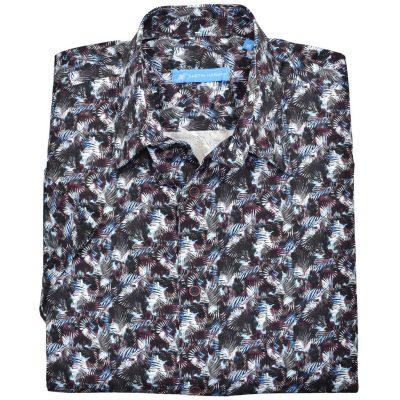 Men's Justin Harvey Short Sleeve Classic Fit Super Soft Cotton Sport Shirt, Fern Pattern #ZW145 Multi