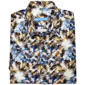 Men's Justin Harvey Short Sleeve Classic Fit Super Soft Cotton Sport Shirt, Geometric Print #ZW134 Multi