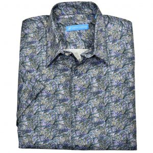 Men's Justin Harvey Short Sleeve Classic Fit Super Soft Cotton Sport Shirt, Indigo Palms #ZW143