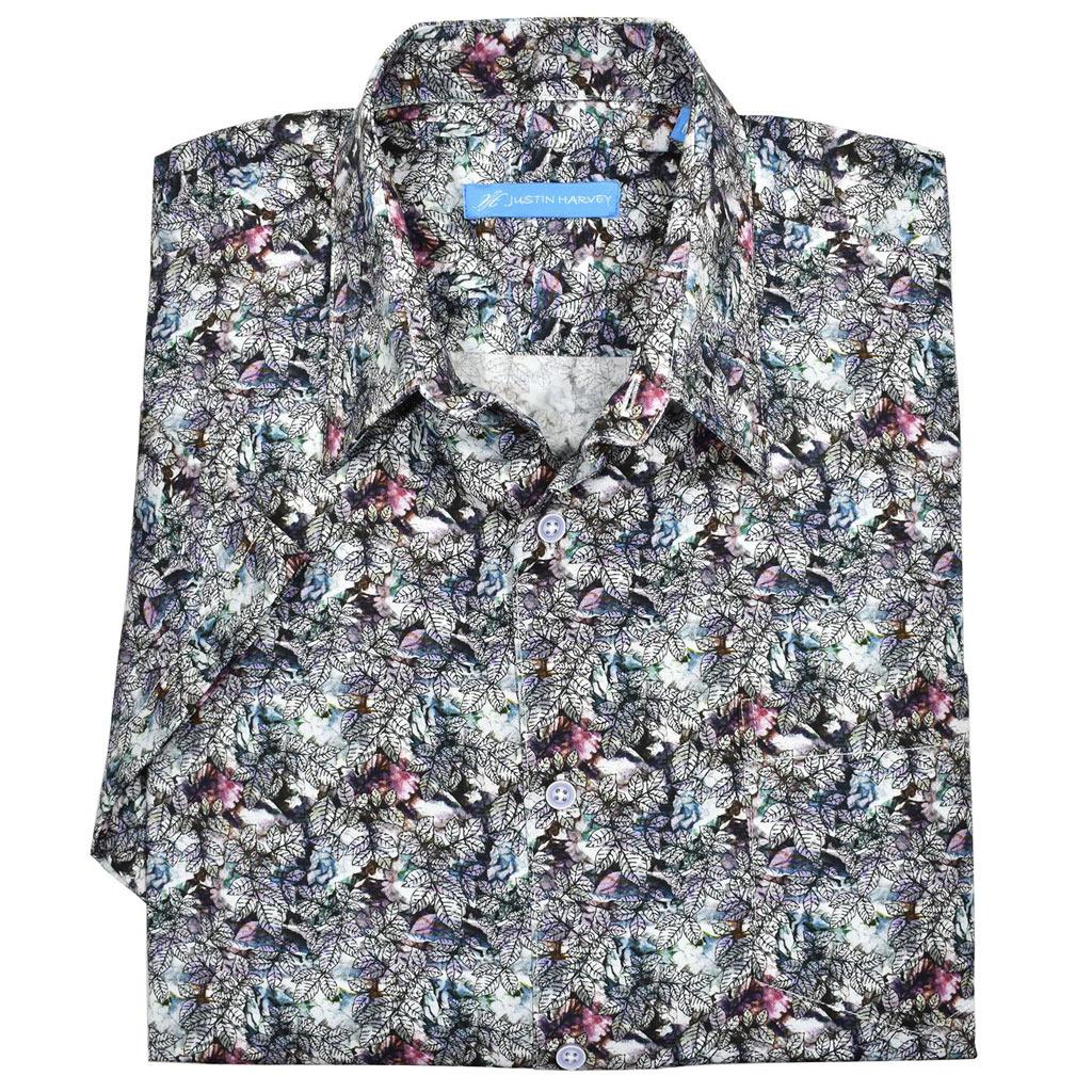 Men's Justin Harvey Short Sleeve Classic Fit Super Soft Cotton Sport Shirt, Midnight Leaves #ZW146 Multi