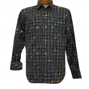Men's Luchiano Visconti Signature Collection Abstract Woven Long Sleeve Sport Shirt #43103 Brown Multi