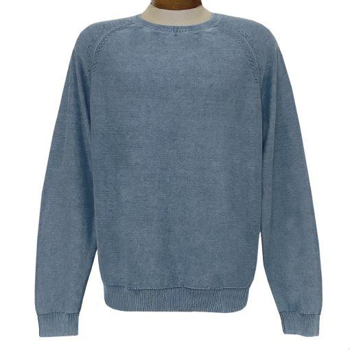Men's F/X Fusion 100% Cotton Raglan Sleeve Sand Washed Finish Crew Neck Sweater #3000 Indigo