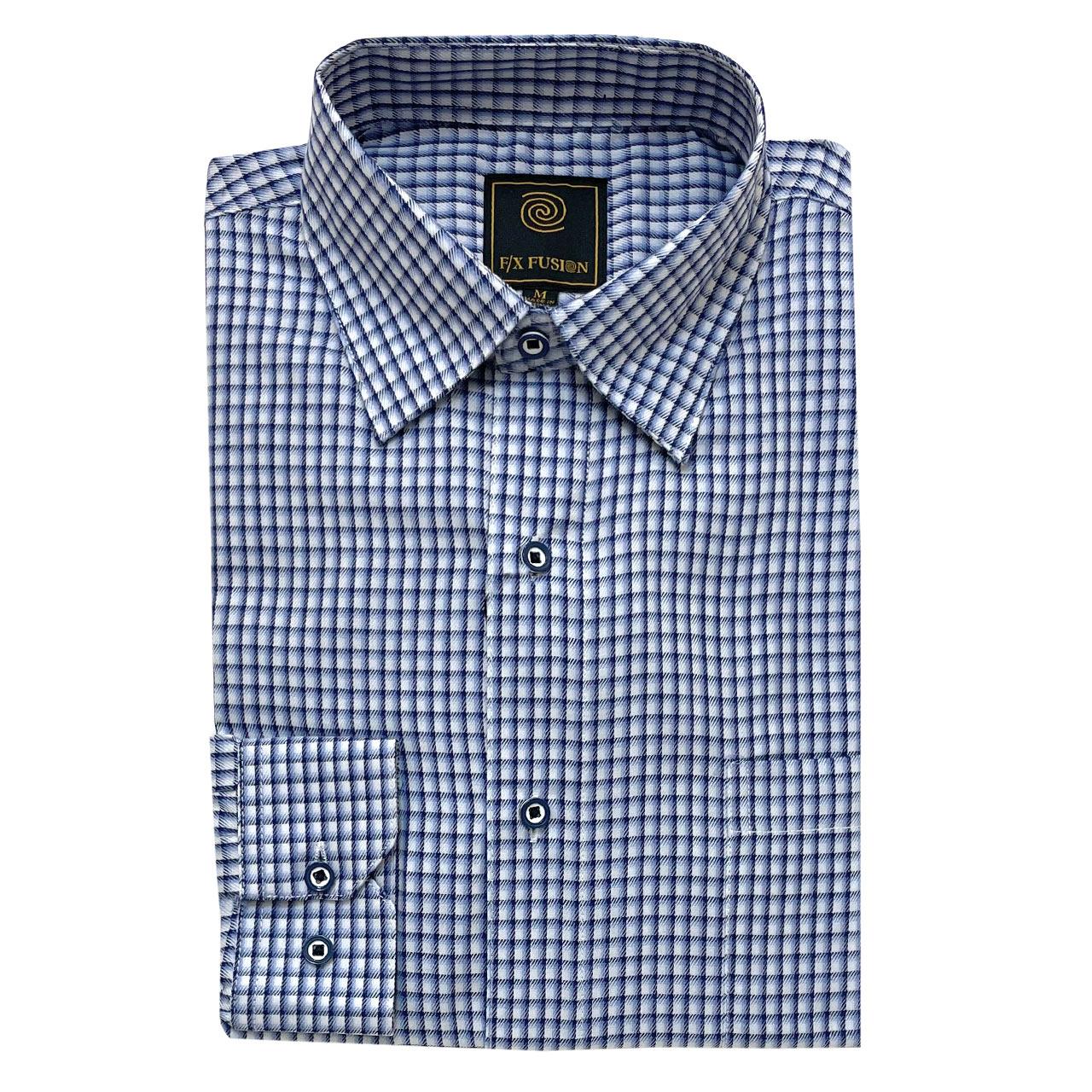 Men's F/X Fusion Long Sleeve Broken Gingham Wrinkle Resistant Woven Sport Shirt #D1504, Navy/White