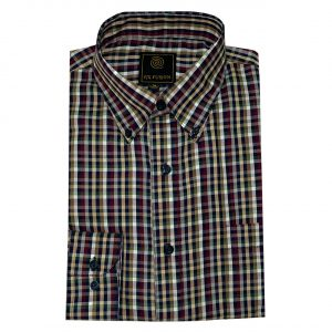 Men's F/X Fusion Long Sleeve Multi Check Wrinkle Resistant Woven Sport Shirt #D1502, Navy Multi