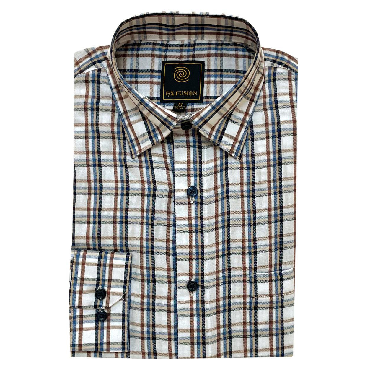 Men's F/X Fusion Long Sleeve Multi Twill Check Wrinkle Resistant Woven Sport Shirt #D1515 Ecru Multi