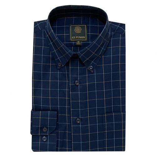 Men's F/X Fusion Long Sleeve Squares Wrinkle Resistant Woven Sport Shirt #D1503, Navy/Tan