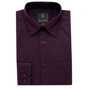 Men's F/X Fusion Long Sleeve Tonal Check Wrinkle Resistant Woven Sport Shirt #D1511 Burgundy