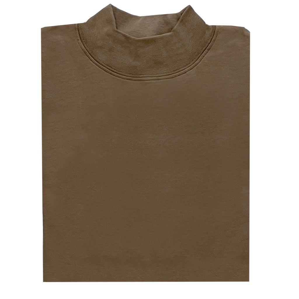 Men's Gionfriddo Super Soft Interlock Pima Cotton Long Sleeve Mock Turtleneck Shirt #GK-2100 Coffee