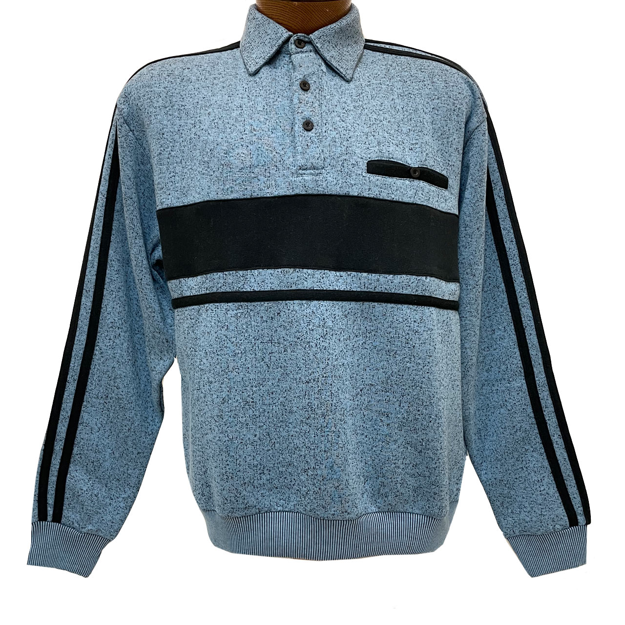 Men's Classics By Palmland Long Sleeve Horizontal Fleece Pieced Banded Bottom Shirt #6098-308B Blue