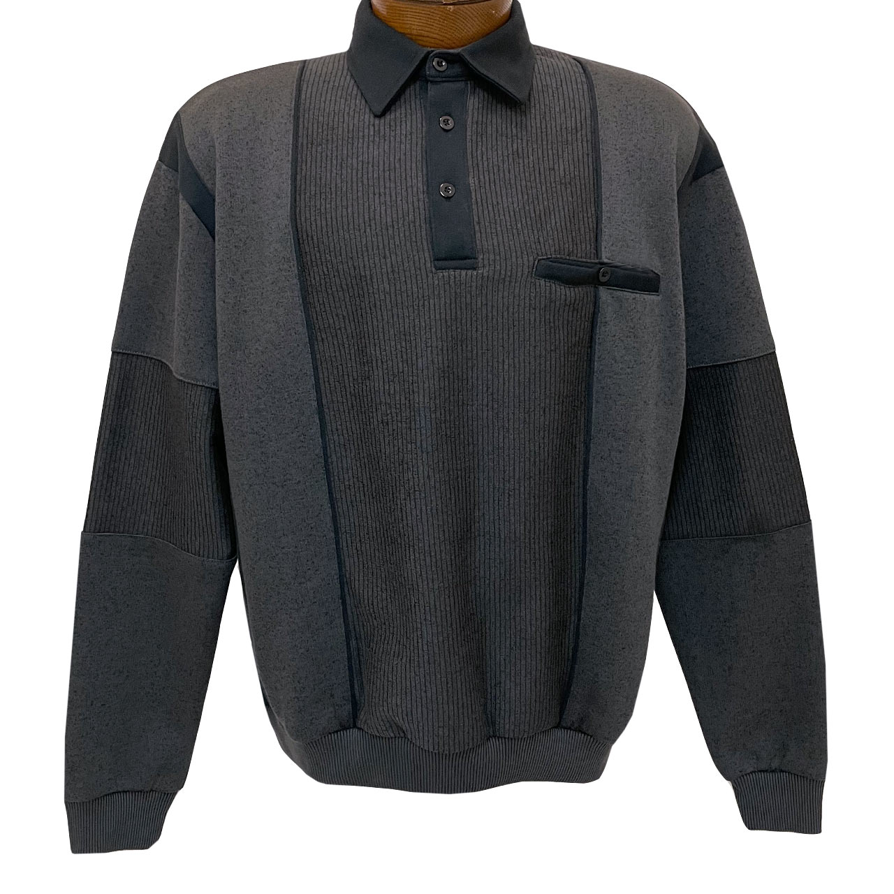 Men's Classics By Palmland Long Sleeve Vertical Fleece Pieced Banded Bottom Shirt 6094-165B Charcoal
