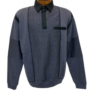 Men's Classics By Palmland Long Sleeve Vertical Fleece Pieced Banded Bottom Shirt 6094-165B Slate Blue