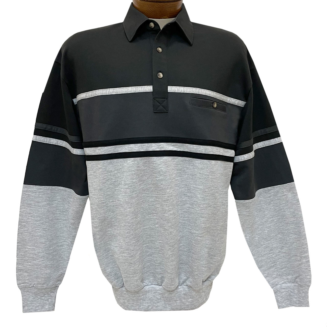 Men's Classics-LD Sport By Palmland Long Sleeve Tailored Collar Horizontal Pieced Banded Bottom Shirt #6094-450 Black