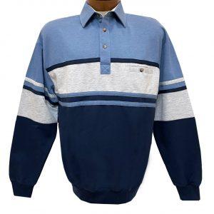 Men's Classics-LD Sport By Palmland Long Sleeve Tailored Collar Horizontal Pieced Banded Bottom Shirt #6094-450 Blue Heather