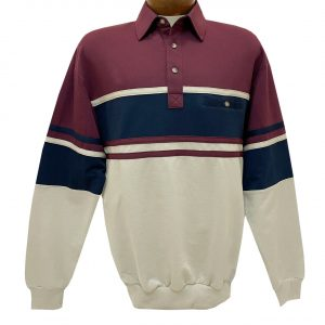 Men's Classics-LD Sport By Palmland Long Sleeve Tailored Collar Horizontal Pieced Banded Bottom Shirt #6094-450 Burgundy