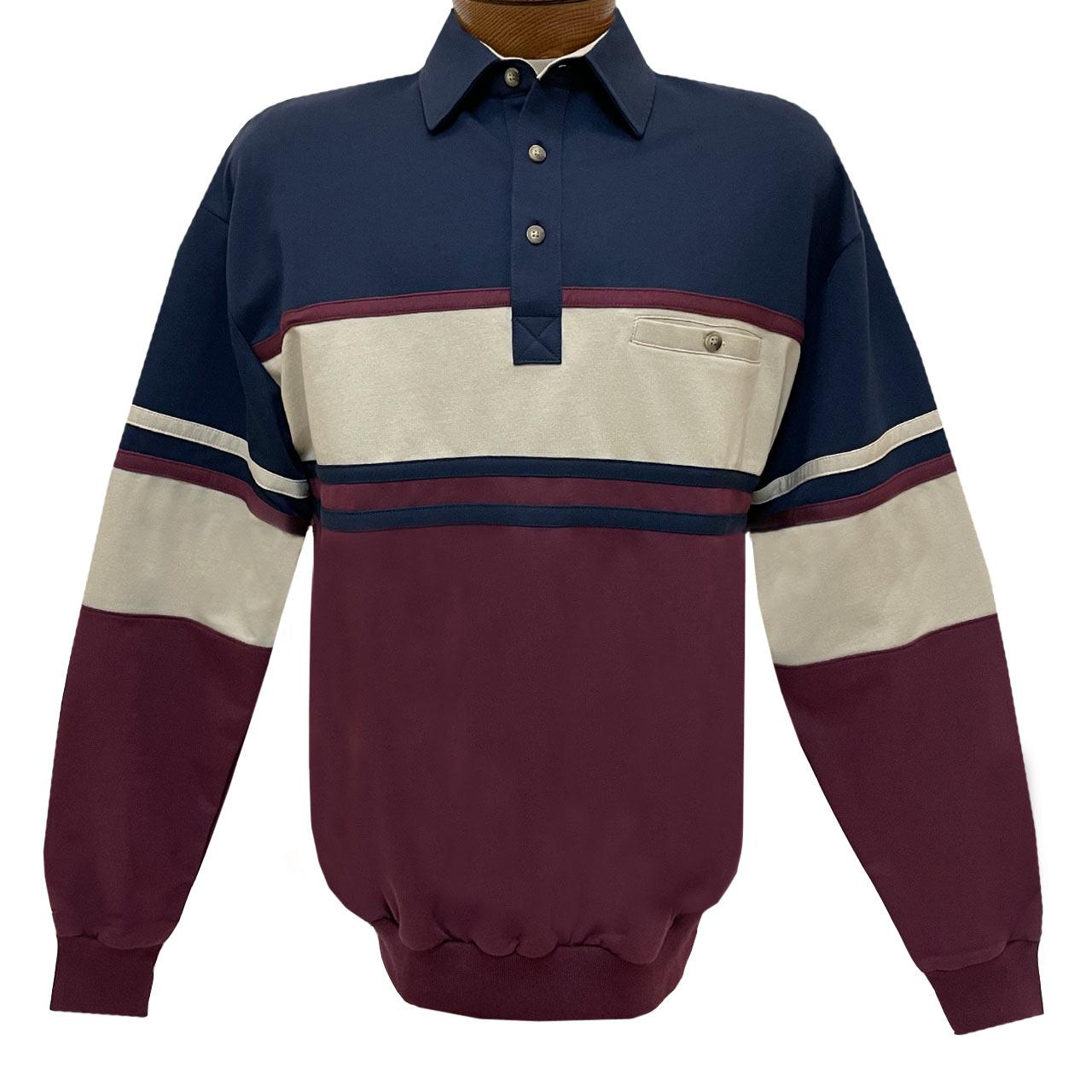 Men's Classics-LD Sport By Palmland Long Sleeve Tailored Collar Horizontal Pieced Banded Bottom Shirt #6094-450 Navy