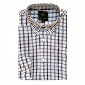 Men's F/X Fusion Long Sleeve 100% Cotton Check Woven Sport Shirt #FW19, White/Burgundy/Purple