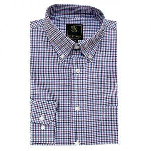 Men's F/X Fusion Long Sleeve 100% Cotton Mini Check Woven Sport Shirt #FW12, Plumb