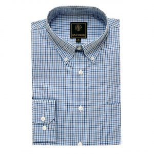 Men's F/X Fusion Long Sleeve 100% Cotton Mini Check Woven Sport Shirt #FW13, Lt. Blue Multi