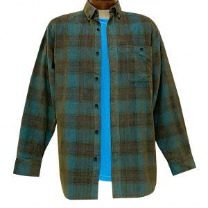 Men's R. Options Corduroy Long Sleeve Yarn Dyed Plaid Shirt, #81043-33B Royal/Olive