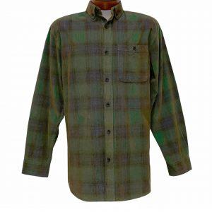 Men's R. Options Corduroy Long Sleeve Yarn Dyed Plaid Shirt, #81043-44B Hunter/Navy