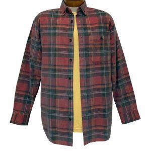 Men's R. Options Corduroy Long Sleeve Yarn Dyed Plaid Shirt, #82140-5B Red/Black