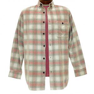 Men's R. Options Corduroy Long Sleeve Yarn Dyed Plaid Shirt, #82141-5A Brick/Tan