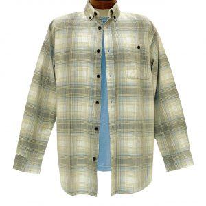 Men's R. Options Corduroy Long Sleeve Yarn Dyed Plaid Shirt, #82142-3A Tan/Blue