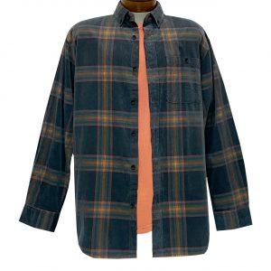 Men's R. Options Corduroy Long Sleeve Yarn Dyed Plaid Shirt, #82143-21C Black/Multi