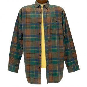 Men's R. Options Corduroy Long Sleeve Yarn Dyed Plaid Shirt, #82144-2C Sunset/Navy