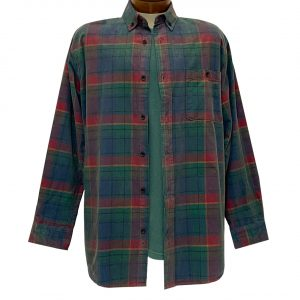 Men's R. Options Corduroy Long Sleeve Yarn Dyed Plaid Shirt, #82144-5C Navy Red