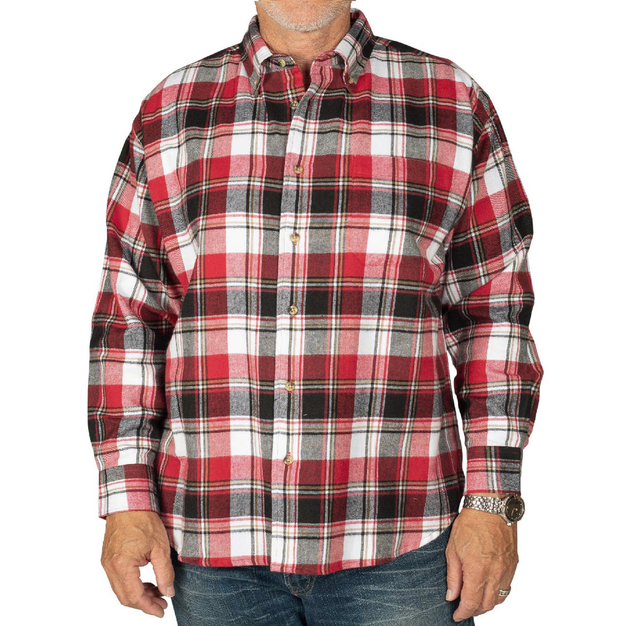 Men's Woodland Trail By Palmland Long Sleeve 100% Cotton Woven Plaid Flannel Shirt #5900-308 Red