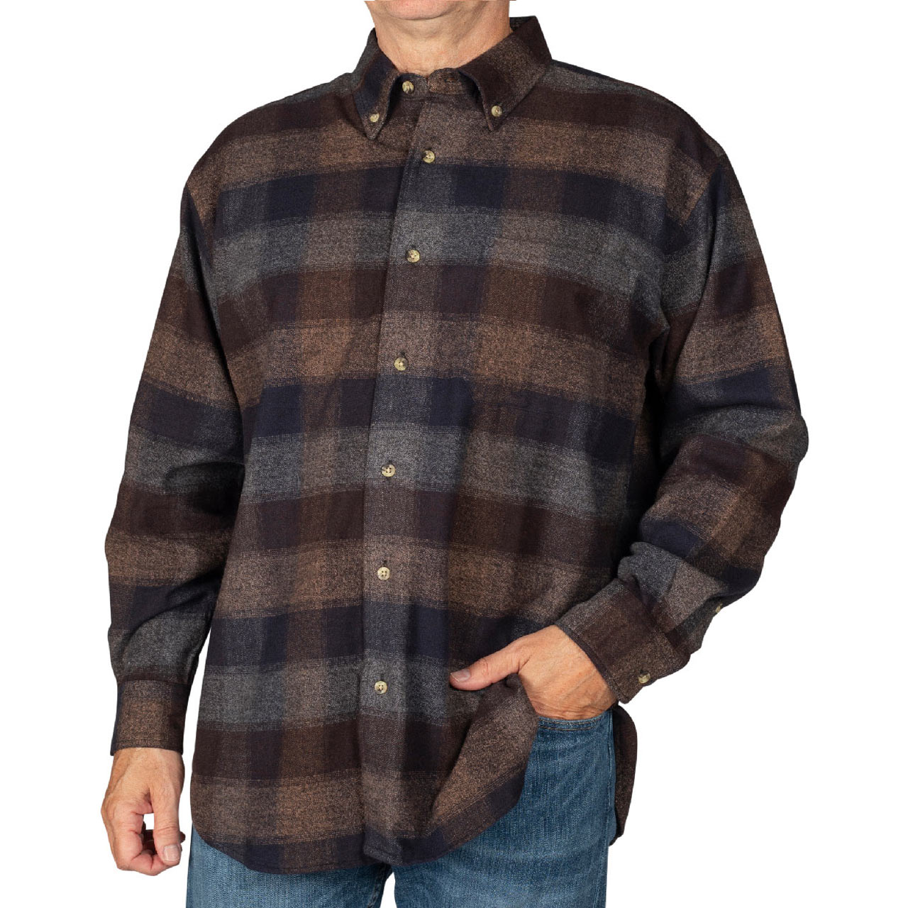 Men's Woodland Trail By Palmland Long Sleeve 100% Cotton Woven Plaid Flannel Shirt #5900-310 Brown