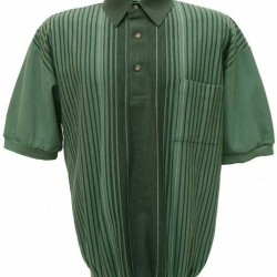 Men's LD Sport By Palmland Short Sleeve Banded Bottom Knit Shirt Moss