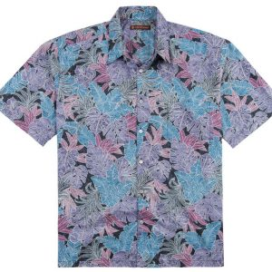 "Men's Tori Richard® Cotton Lawn Short Sleeve Shirt, Jungle Mix #6361 Black ""USE COUPON TR1 WHEN YOU CHECK OUT"""
