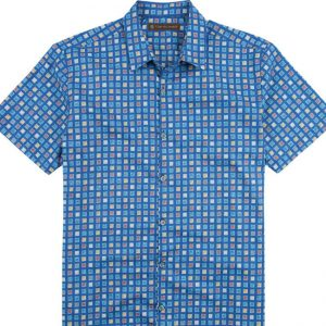 "Men's Tori Richard® Cotton Lawn Short Sleeve Shirt, City At Night #6997 Ocean Blue ""USE COUPON TR1 WHEN YOU CHECK OUT"""