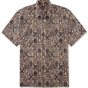 "Men's Tori Richard® Cotton Lawn Short Sleeve Shirt, Mapquest #6983 Brown ""USE COUPON TR1 WHEN YOU CHECK OUT"""