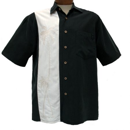 Men's Bamboo Cay® Short Sleeve Embroidered Modal Blend Shirt, Monterey Palms #WB10040 Black
