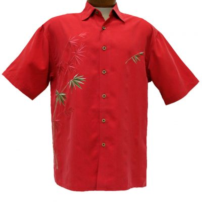 Men's Bamboo Cay® Short Sleeve Embroidered Modal Blend Shirt, Flying Bamboos #WB2006D Tomato