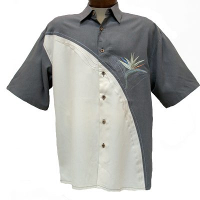 Men's Bamboo Cay® Short Sleeve Embroidered Modal Blend Shirt, Crescent Bird Of Paradise #WB5 MD Grey