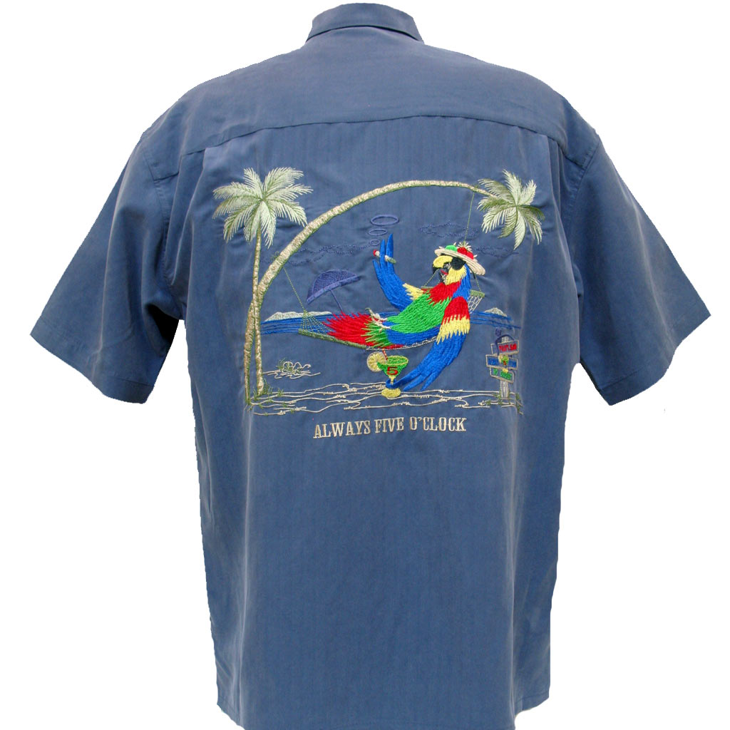 Men's Bamboo Cay® Short Sleeve Embroidered Modal Blend Shirt, Always Five O'Clock #WB5000 Infra Blue