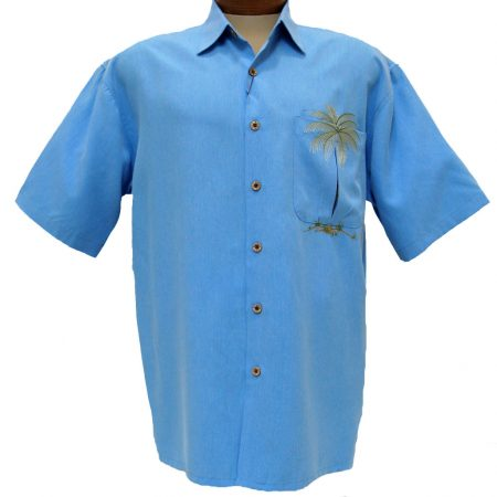 Men's Bamboo Cay® Short Sleeve Embroidered Modal Blend Shirt, Peek-A-Boo Palm #WB630 Colbalt